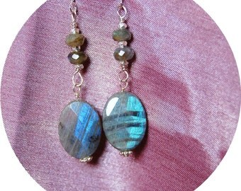 Faceted Laboradorite with Sterling Silver Earrings