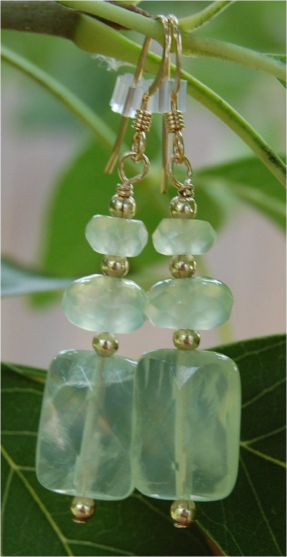 Faceted Prehnite and 14K Gold Fill Earrings