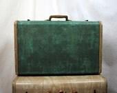 Vintage 1940s Green Samsonite Suitcase Luggage