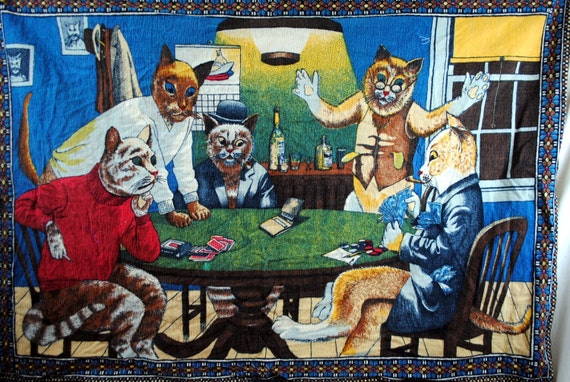 Cats Playing Poker Vintage Felt Wall Hanging Tapestry