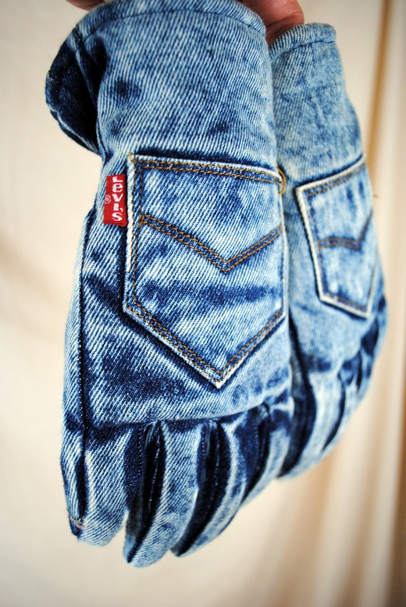 Vintage 80s Acid Wash Levis Winter Gloves