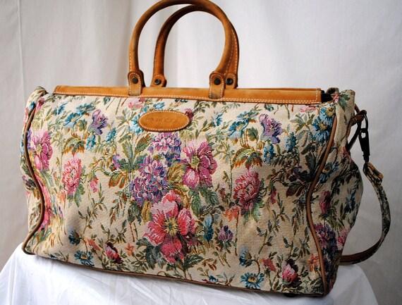 Vintage Protocol Floral Tapestry Large Tote Bag