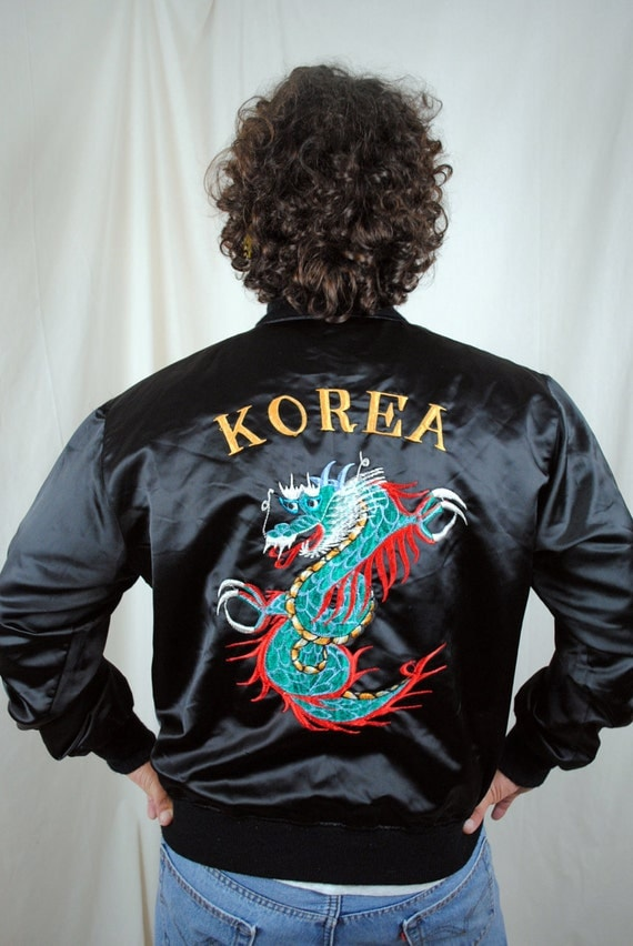 Vintage s souvenir embroidered korea dragon bomber jacket