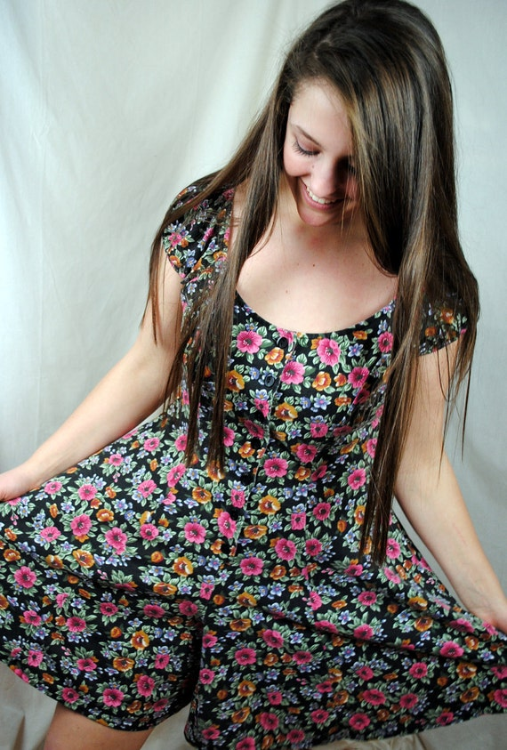Vintage 80s  Sweetheart Summer Floral Mini Dress Romper