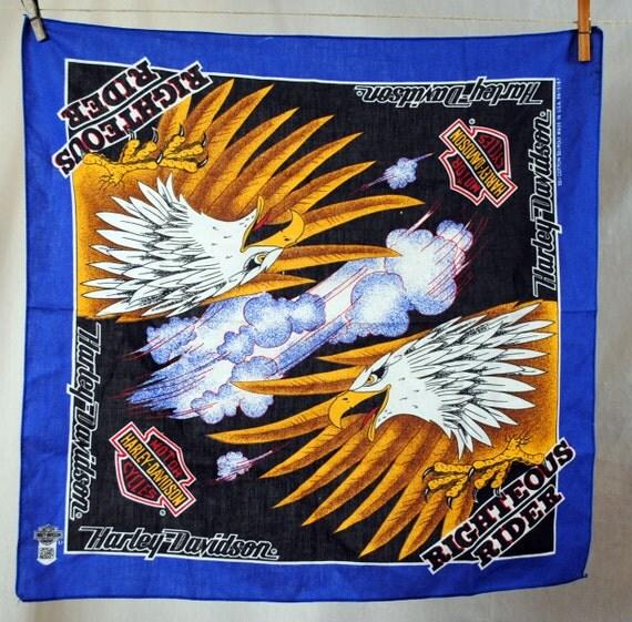 Vintage 80s Harley Davidson Eagle Flag USA Hankerchief Scarf