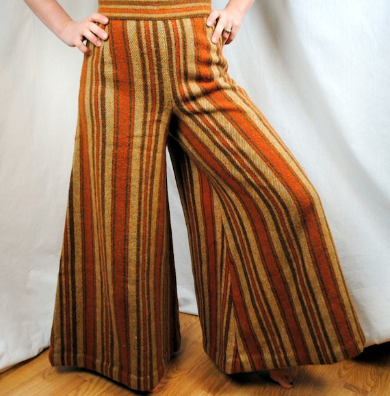 1960s Union Made Plaid Super Wide Bell Bottoms