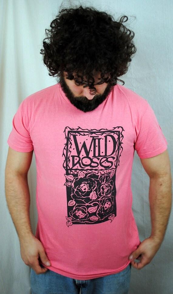 Vintage 80s Wild Roses Pink Tee Shirt