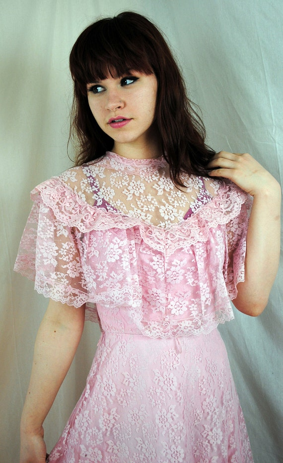 Pretty in Pink - Classic 1970s JcPenney Boho Lace Formal Dress
