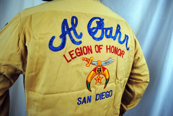 1950s Al Bahr Shriners RARE Legion of Honor Embroidered Shirt