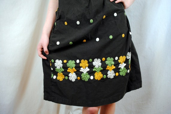 Vintage 1950s 60s Embroidered Dress - XL