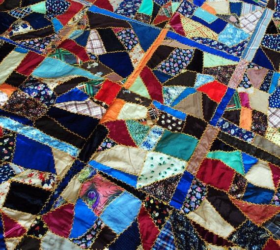 Lovely Vintage Silk Crazy Patchwork Quilt