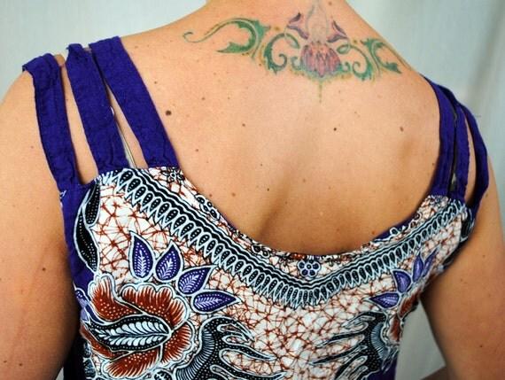 Vintage Tropical Batik Indonesia Summer Shirt Dress