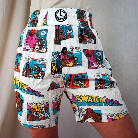 RARE Vintage 80s Swatch Watch Comic Strip Shorts