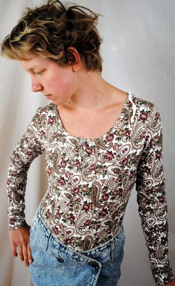 Vintage 80s Floral Bodysuit Onesie