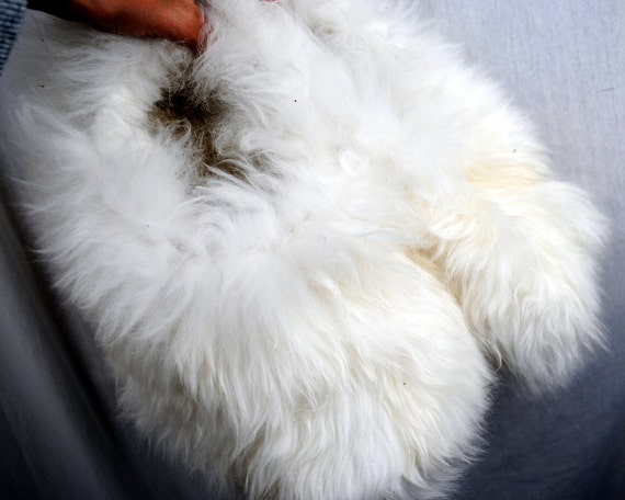Vintage White Furry Alpaca Slippers