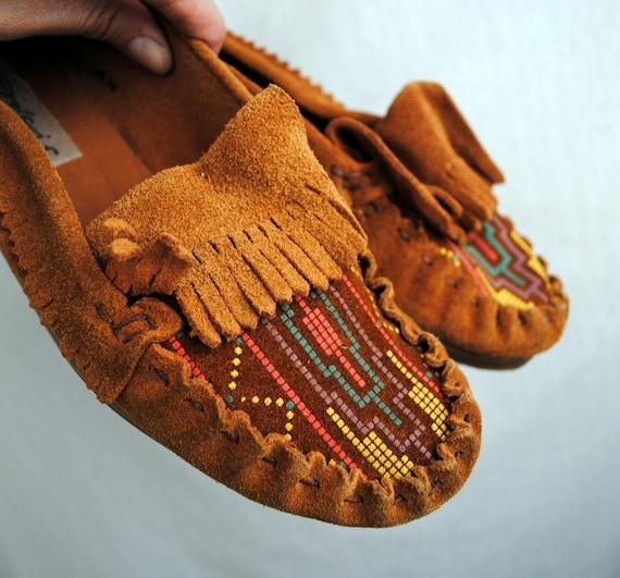 Vintage Pixie Fringe Rainbow Leather Moccasins Shoes Loafers - Size 38