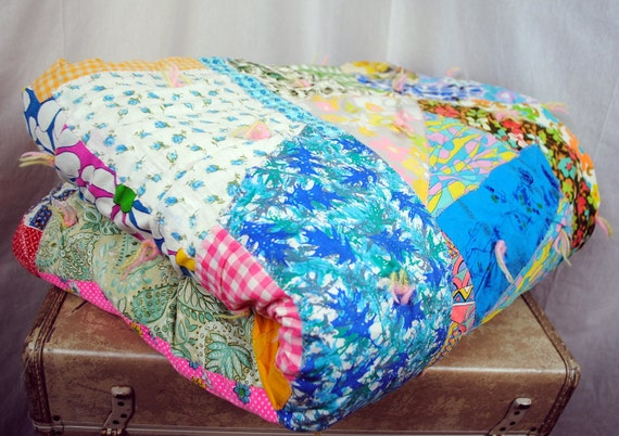 Fun Vintage Handmade Crazy Patchwork Quilt
