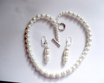 Bridal Jewelry, Necklace and Earrings, Pearl and Rhinestones, Wedding Jewelry, Bridesmaid Gift, Pearl Jewelry, Dressy Pearls