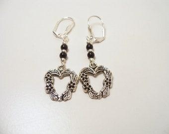 Black and Silver, Heart Earrings, Dangle Earrings, Silver and Black, Heart Dangle, Silver Heart Earrings, Black and Silver Earrings