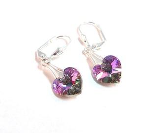 Earrings,  Purple,  Pink Heart  Earrings, Purple Earrings, Crystal Earrings