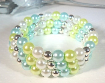 Lime Green, Pearl Bracelet, Wrap Bracelet, Memory Wire, Spring Summer Fashion