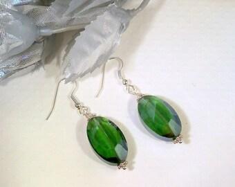 Emerald Green, Earrings, Dangle Earrings, Green Earrings, Green Accessories, St Patricks Day,  Summer Fashion, Clip On Earrings
