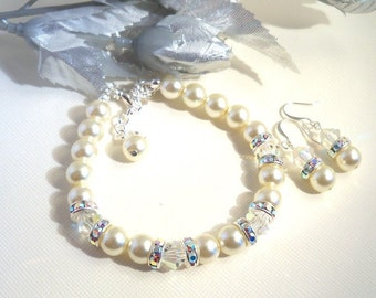 Ivory Bridal Bracelet and Earrings Set,  Pearls, Bridal Accessories, Crystals and Rhinestones, Wedding Jewelry, Bridesmaid Jewelry