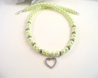 Girls Heart Pendant and Mint  Green Pearl Necklace,  Flower Girl, Heart Necklace