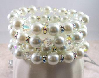 Bridal Bracelet, Pearls, Crystal, Rhinestones, Pearl Cuff Bracelet, Memory Wire, Wedding, Bridal Jewelry, Bridal Accessories, Pearl Bracelet