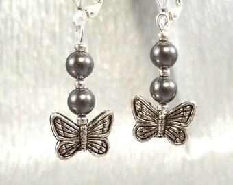 Earrings, Butterfly, Dangle Earrings, Hemetite, Summer, Silver Color, Grey, Gray, Butterfly Jewelry, Butterflies