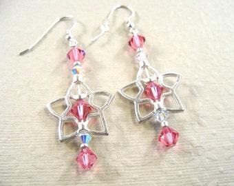 Pink Crystal  Earrings, Star Earrings, Earrings, Pink, Dangle, Summer