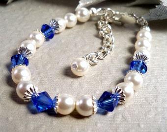 Girl Bracelet, Sapphire Blue, Flower Girl, Toddler, Pageant, September Birthstone, Kids Jewelry