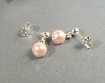 Girls Earrings, Pink Earrings, Pearl Earrings, Kids Earrings, Toddler Earrings, Flower Girl, Kids Jewelry