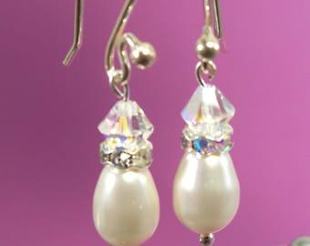 Ivory Pearl Earrings, Pearl, Rhinestone, Crystal, Bridal Jewelry, Bridesmaid Jewelry, Wedding Jewelry, Bridal Accessories, Pear Shape Pearl