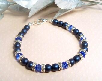 Blue Bracelet, Sapphire Blue, Crystal, Dark Blue, Blue Jewelry, Bridesmaid Bracelet, Wedding Blue, September Birthstone, Mother of the Groom