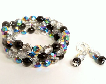 Memory Wire Bracelet, Black and AB Crystals with Matching Earrings, Bridesmaid, Dressy, Wedding Jewelry