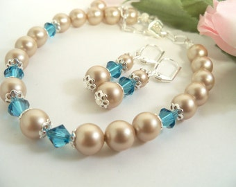 Bridal Jewelry Set, Bracelet and Earrings, Almond, Latte, Mocha, Turquoise, Teal, Bridesmaid Gift, Bridal Party, Wedding