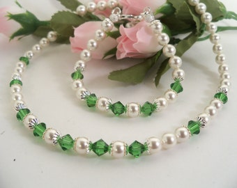 Girls Green Necklace, Necklace and Bracelet, Flower Girl Jewelry, Pearls Crystals, Green Jewelry, Kids Jewelry, Toddler Girl Jewelry Dressy