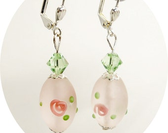 Pink and Green Earrings,  Mint, Peridot,  Summer,  Pink Earrings