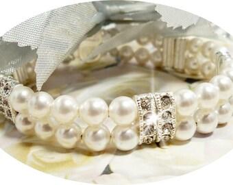 2 Strand Bracelet, Bridal Bracelet, Bridal Jewelry, Double Strand Pearl, Pearl Bracelet, Pearl Bracelet, Mother of the Bride, Bridesmaid