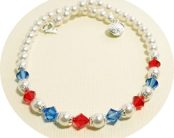 Girls Red, White and Blue Necklace, Pearls, Toddler, Patriotic, 4th of July, Pageant, Nautical, Crystals