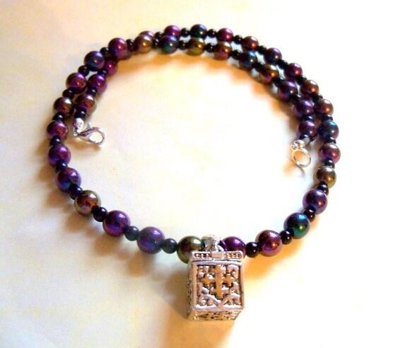 Silver Wish Box Prayer Box on Purple and Blue Beads