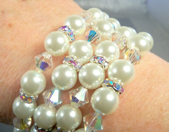 Bridal Bracelet,  Pearls,  Rhinestones and Crystals,  Memory Wire, Cuff, Bridal Accessories, Pearl Bracelet, Wide Bracelet