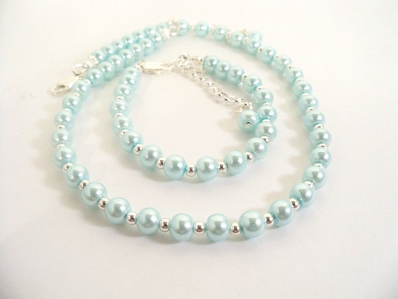 Girls Aqua Necklace and Bracelet Set, Flower Girl,  Dressy, Toddler
