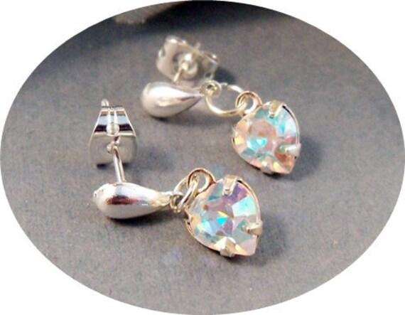 Girls Earrings, Crystal Earrings, Heart Earrings, Little Girl, Toddler, Dressy, Pageant