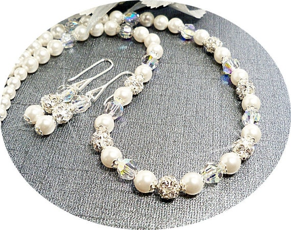 Bridal Necklace and Earrings, Wedding, Bride, Glitz, Jewelry Set, Pearl, Rhinestone, Crystal
