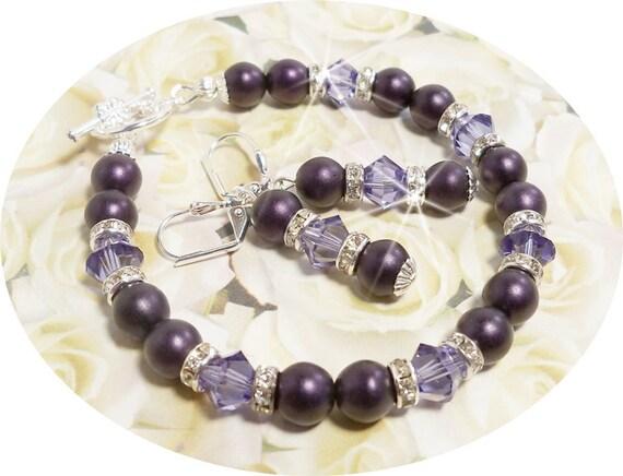 Purple Bridesmaid Bracelet and Earring, Purple, Lapis, Purple Jewelry Set, Wedding