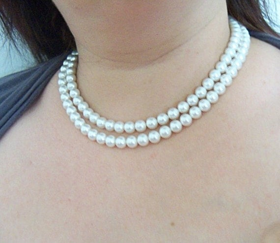 Pearl Necklace, Double Strand, 2 Strand, Wedding, Bridal, Dressy