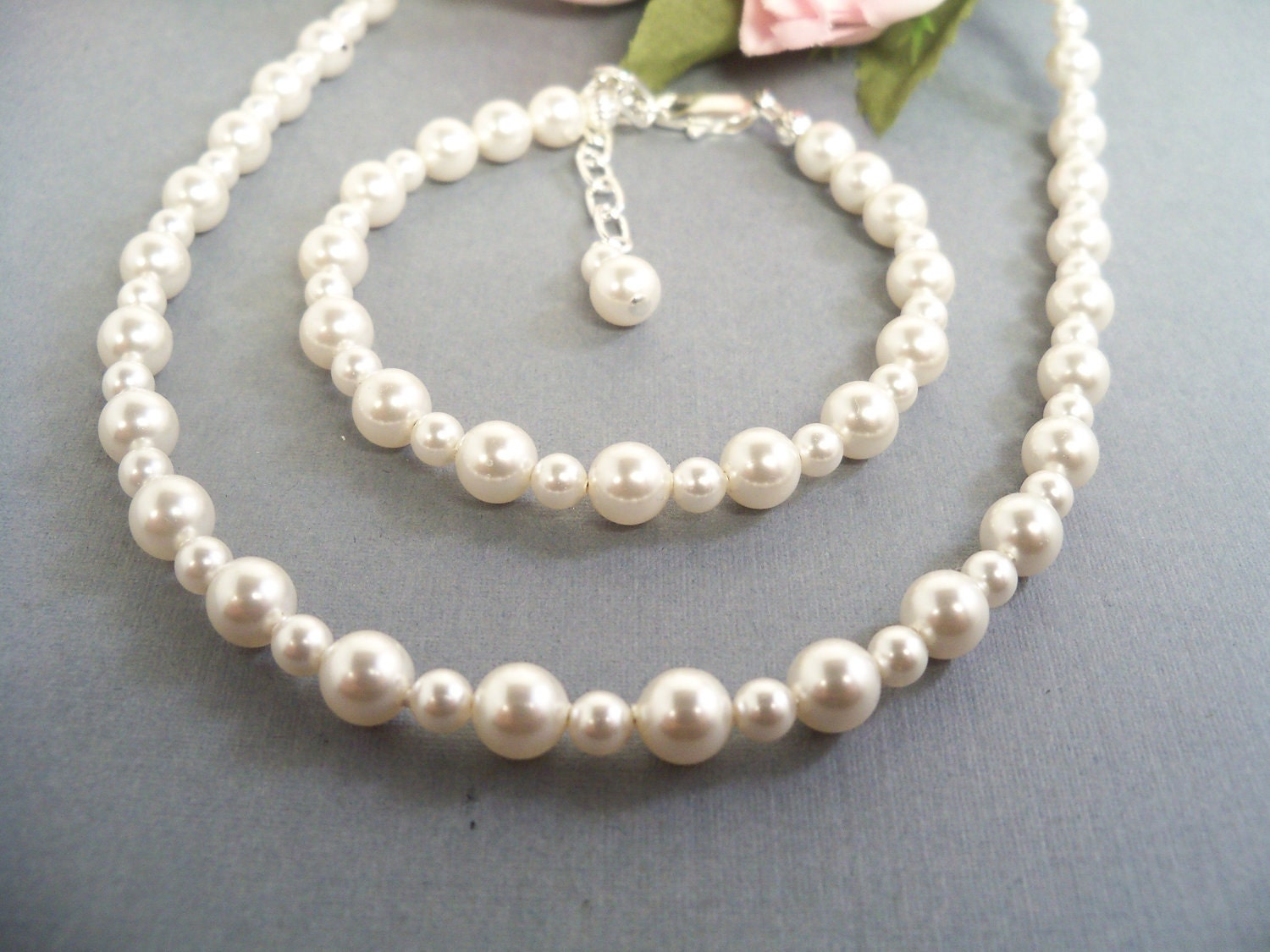 pearls necklace and bracelet set toddler jewelry set