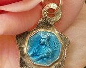 Tiny Vintage French St.Therese Blue Enamel Repose Rose Charm Rosary Medal Pendant